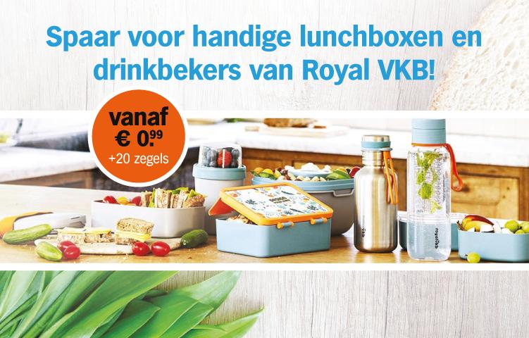 Spaar voor handige lunchboxen en drinkbekers van Royal VKB!